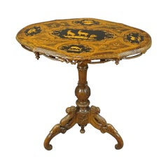 Victorian Carved Marquetry Table Swiss Brienz, 1900