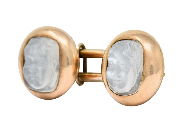 Victorian Carved Moonstone 10 Karat Gold Cameo Men's Cufflinks In Excellent Condition For Sale In Philadelphia, PA