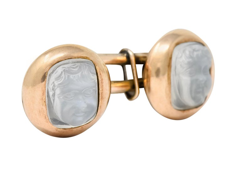 Women's or Men's Victorian Carved Moonstone 10 Karat Gold Cameo Men's Cufflinks For Sale