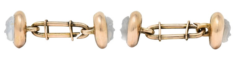 Victorian Carved Moonstone 10 Karat Gold Cameo Men's Cufflinks For Sale 1