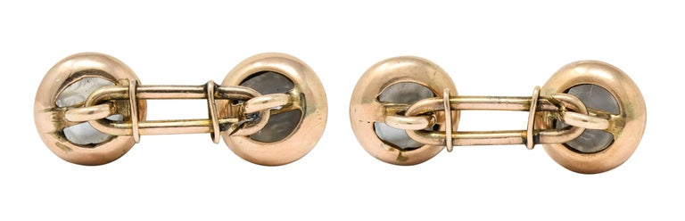 Victorian Carved Moonstone 10 Karat Gold Cameo Men's Cufflinks For Sale 2