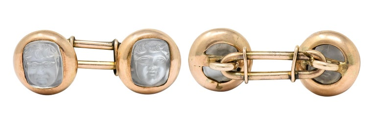 Victorian Carved Moonstone 10 Karat Gold Cameo Men's Cufflinks For Sale 3