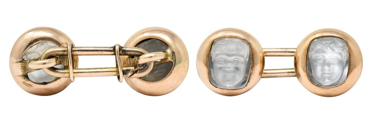 Victorian Carved Moonstone 10 Karat Gold Cameo Men's Cufflinks For Sale 4