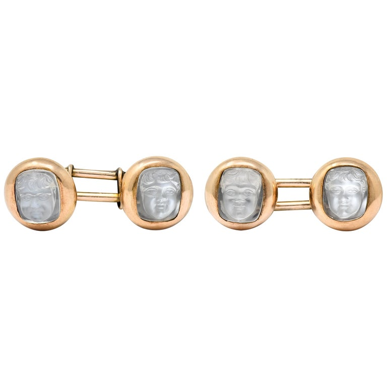 Victorian Carved Moonstone 10 Karat Gold Cameo Men's Cufflinks For Sale