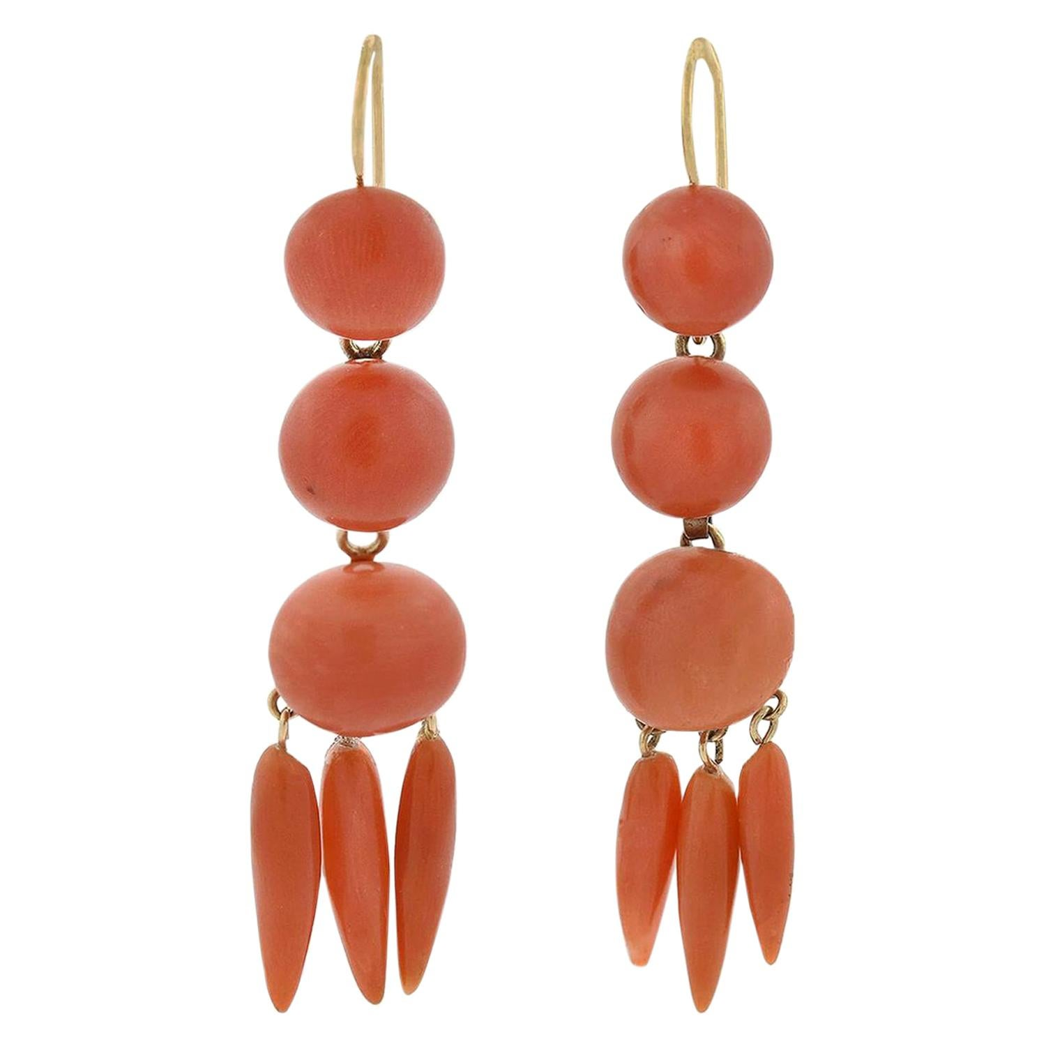 Victorian Carved Natural Coral Dangling Earrings