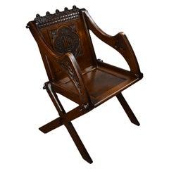 Victorian Carved Oak Glastonbury Armchair