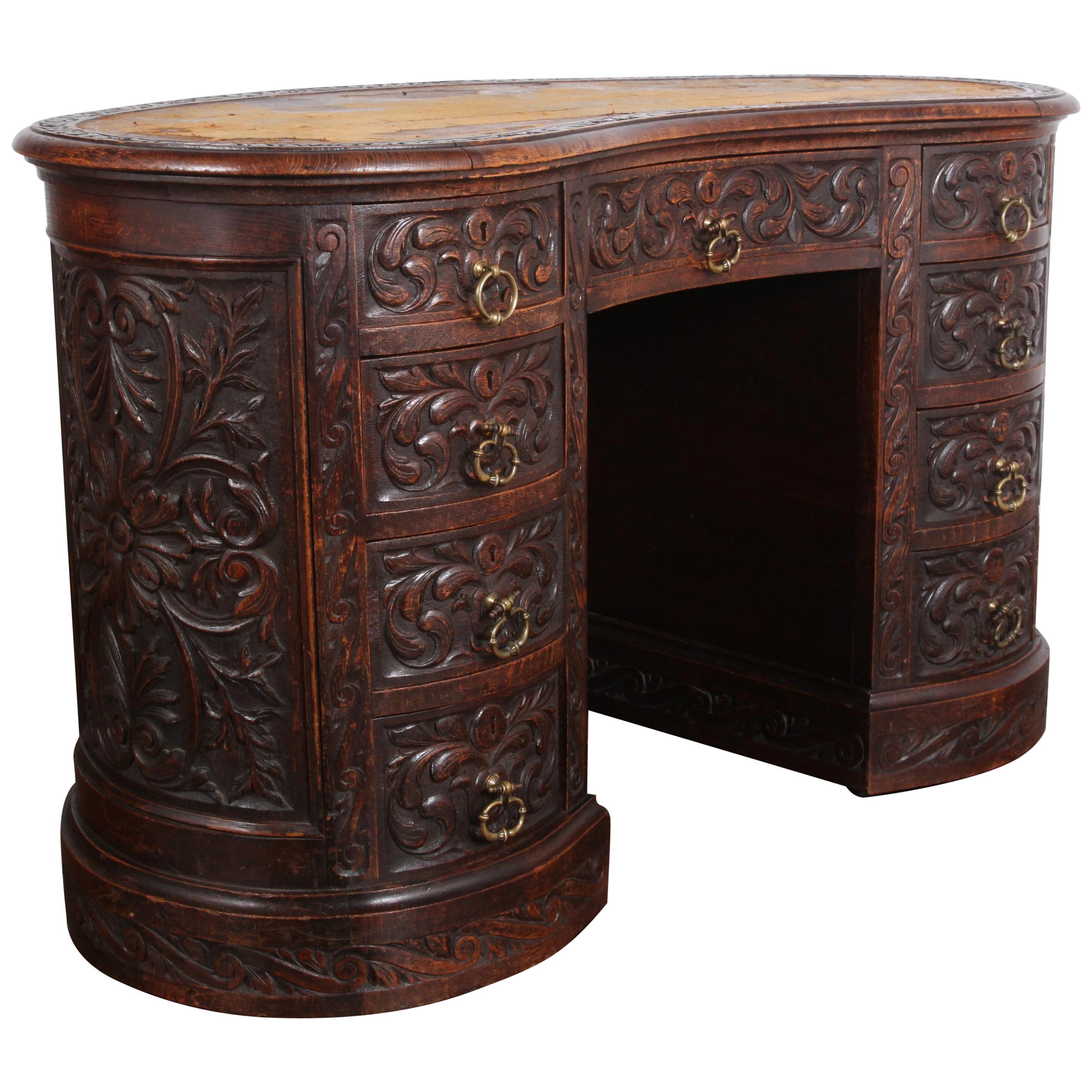 Victorian Carved Oak Kidney-Shaped Desk