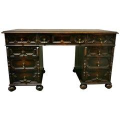Victorian Carved Oak Pedestal Desk