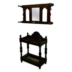 Victorian Carved Oak Stick Stand & Matching Mirror Set