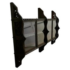 Victorian Carved Oak Wall Hanging Display Cabinet
