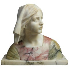 Victorian Carved Polychrome Italian Marble Bust of Jeanne D' Arc Signed G. Bessi