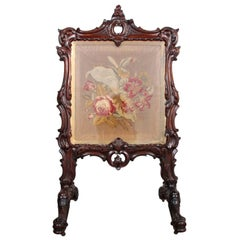 Victorian Carved Rosewood Summer Screen