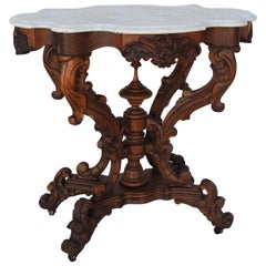 Victorian Carved Walnut and Marble-Top Table
