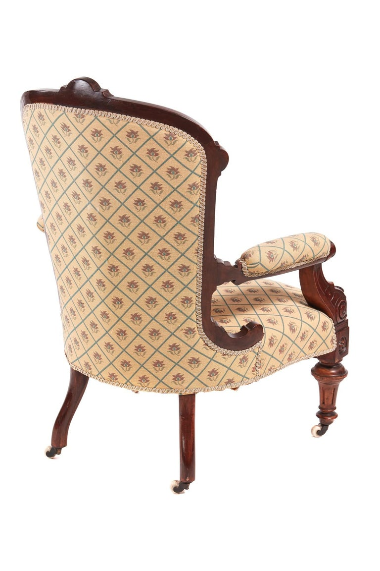 Victorian Carved Walnut Turned Leg Armchair For Sale 7