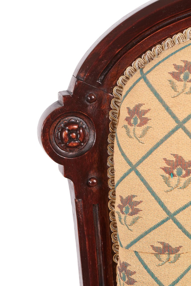Victorian Carved Walnut Turned Leg Armchair For Sale 1