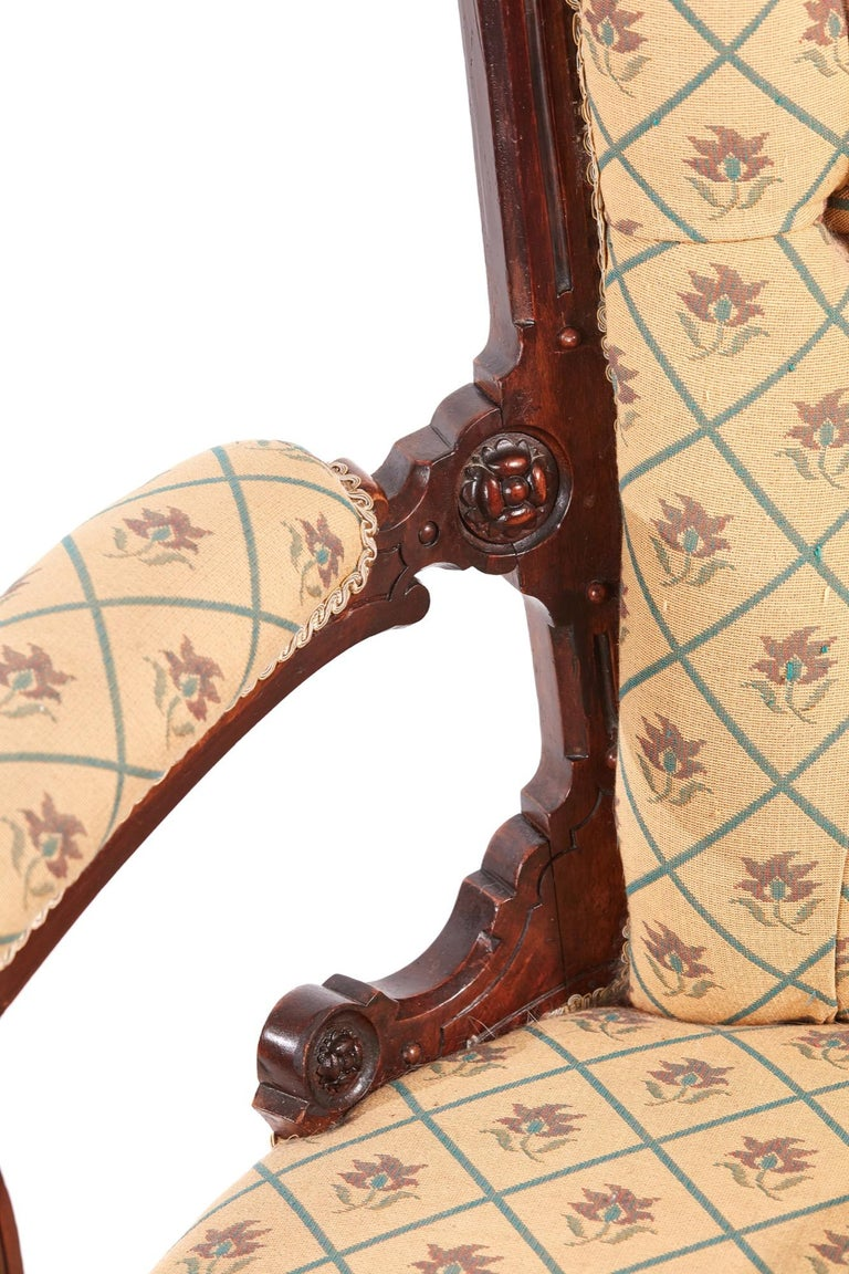 Victorian Carved Walnut Turned Leg Armchair For Sale 4