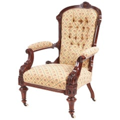 Victorian Carved Walnut Turned Leg Armchair