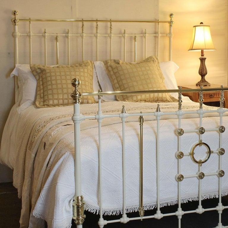 Fine Example Of A Quality Victorian Cast Iron And Br Bed Finished In Cream With