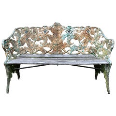 Victorian Cast Iron Bench Seat Coalbrookdale Fern and Berry Pattern
