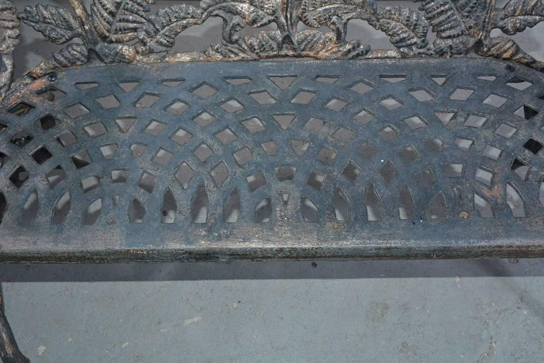 Victorian Cast-Iron Fern Leaf Motif Garden Settee For Sale 5