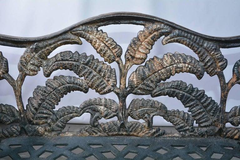 Victorian Cast-Iron Fern Leaf Motif Garden Settee For Sale 1