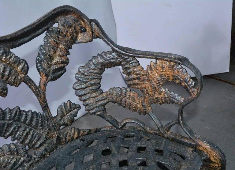 Victorian Cast-Iron Fern Leaf Motif Garden Settee For Sale 2