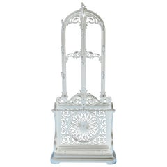 Victorian Cast Iron Hall Stand in White