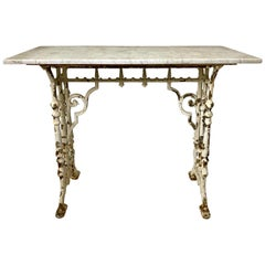 Victorian Cast Iron Marble-Top Outdoor Table
