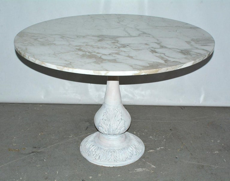 American Victorian Cast Iron Pedestal Dining Table with Round Marble Top For Sale