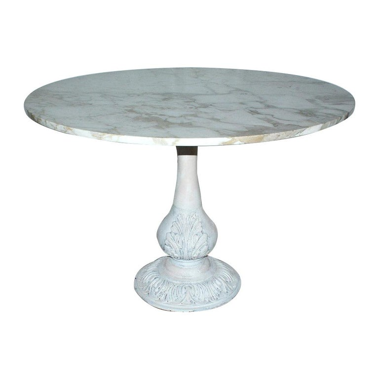 Victorian Cast Iron Pedestal Dining Table with Round Marble Top For Sale