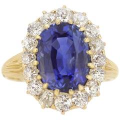 Certified Natural Sri Lanka Sapphire & Diamond Cluster Ring, Antique Victorian