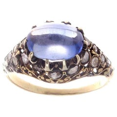 Victorian Ceylon No Heat Cabochon Sapphire Diamond Gold Topped Silver Ring