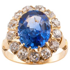 Victorian Ceylon Sapphire Diamond Gold Ring