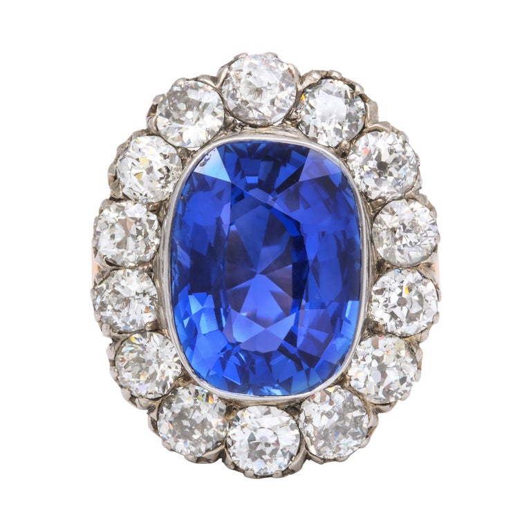 Victorian Ceylon Sapphire Diamond Yellow Gold Ring For Sale
