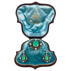 Victorian Chrysoprase, Diamond and Pearl Pin/Pendant and Earrings Suite