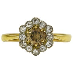 Victorian Champagne Diamond Engagement Ring Antique Flower Cluster Halo Vintage