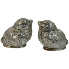 Victorian Charles & George Asprey Solid Silver Pair Bird Salt and Pepper Shakers