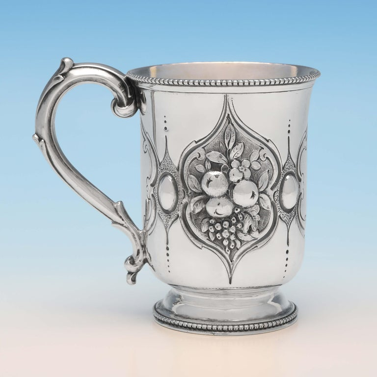 Baroque Revival Victorian Chased Sterling Silver Christening Mug by Henry Holland, London, 1866 For Sale