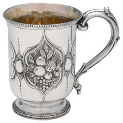Victorian Chased Sterling Silver Christening Mug by Henry Holland, London, 1866