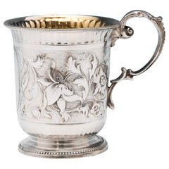Victorian Chased Sterling Silver Christening Mug from 1867