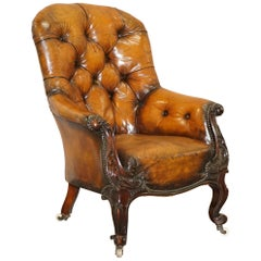 Victorian Chesterfield Show Frame Carved Walnut Brown Leather Restored Armchair