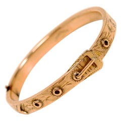 Victorian Child's Buckle Belt Bracelet c1880 in 14K Yellow Gold