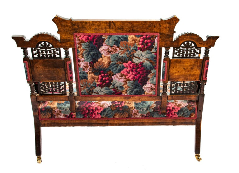 Wood Victorian Childs Settee For Sale