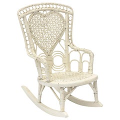 Victorian Child's Wicker Rocking Chair with Heart Shape Spider Woven Back