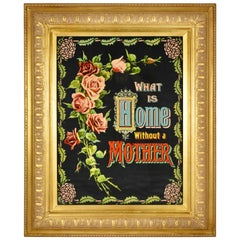 Victorian Chromolithograph What Is Home Without Mother Motto, Gilted Wood Frame