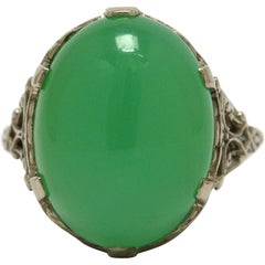 Victorian Filigree Cocktail Ring Chrysoprase Dome Statement Cabochon White Gold