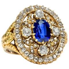 Victorian circa 1850 Natural No Heat Madagascar Blue Sapphire Diamond Gold Ring
