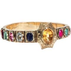 Victorian circa 1850 Ruby Sapphire Opal Emerald Multi Gemstone 18k Gold Bracelet