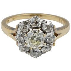 Victorian circa 1860 2.60 Carat Old Mine Cut Diamond Rare Cluster Ring