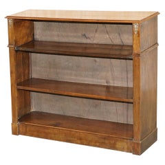 Victorian circa 1860 Walnut Dwarf Open Bookcase Lovely Carved Detailing All-Over